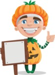 Kid with Halloween Costume Cartoon Vector Character AKA Keat Trick-or-treat - With a Blank Wood Sign