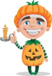 Kid with Halloween Costume Cartoon Vector Character AKA Keat Trick-or-treat - With a Candle