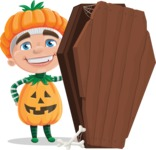 Kid with Halloween Costume Cartoon Vector Character AKA Keat Trick-or-treat - With a Coffin and a Zombie