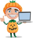 Kid with Halloween Costume Cartoon Vector Character AKA Keat Trick-or-treat - With a Computer