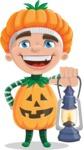 Kid with Halloween Costume Cartoon Vector Character AKA Keat Trick-or-treat - With a Lantern