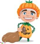 Kid with Halloween Costume Cartoon Vector Character AKA Keat Trick-or-treat - With a lot of Halloween Treats