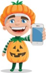Kid with Halloween Costume Cartoon Vector Character AKA Keat Trick-or-treat - With a Phone