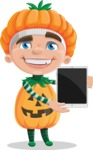 Kid with Halloween Costume Cartoon Vector Character AKA Keat Trick-or-treat - With a Tablet