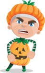 Kid with Halloween Costume Cartoon Vector Character AKA Keat Trick-or-treat - With Angry Face