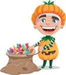 Kid with Halloween Costume Cartoon Vector Character AKA Keat Trick-or-treat - With Bag full of Halloween Treats