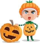 Kid with Halloween Costume Cartoon Vector Character AKA Keat Trick-or-treat - With Big Halloween Pumpkin