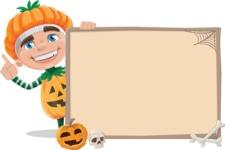 Kid with Halloween Costume Cartoon Vector Character AKA Keat Trick-or-treat - With Blank Halloween Whiteboard