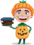 Kid with Halloween Costume Cartoon Vector Character AKA Keat Trick-or-treat - With Books