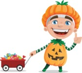 Kid with Halloween Costume Cartoon Vector Character AKA Keat Trick-or-treat - With Candy Wagoon