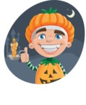 Kid with Halloween Costume Cartoon Vector Character AKA Keat Trick-or-treat - With Castle at Night Background Illustration