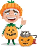 Kid with Halloween Costume Cartoon Vector Character AKA Keat Trick-or-treat - With Cat