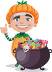 Kid with Halloween Costume Cartoon Vector Character AKA Keat Trick-or-treat - with Cauldron full of Sweets