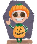Kid with Halloween Costume Cartoon Vector Character AKA Keat Trick-or-treat - With Cool Background Illustration