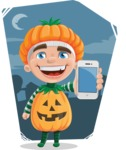 Kid with Halloween Costume Cartoon Vector Character AKA Keat Trick-or-treat - With Flat Night Background