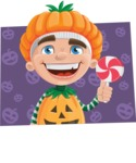 Kid with Halloween Costume Cartoon Vector Character AKA Keat Trick-or-treat - With Flat Shape Background with Pumpkins