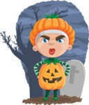 Kid with Halloween Costume Cartoon Vector Character AKA Keat Trick-or-treat - With Grave at Night Background Illustration
