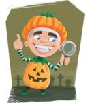 Kid with Halloween Costume Cartoon Vector Character AKA Keat Trick-or-treat - With Graveyard Illustration