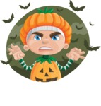 Kid with Halloween Costume Cartoon Vector Character AKA Keat Trick-or-treat - With Halloween Background with Bats