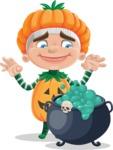 Kid with Halloween Costume Cartoon Vector Character AKA Keat Trick-or-treat - With Halloween Caldron