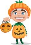 Kid with Halloween Costume Cartoon Vector Character AKA Keat Trick-or-treat - With Halloween Lantern