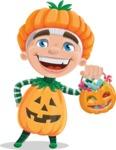 Kid with Halloween Costume Cartoon Vector Character AKA Keat Trick-or-treat - with Halloween Pumpkin and Candies