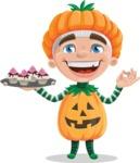 Kid with Halloween Costume Cartoon Vector Character AKA Keat Trick-or-treat - With Halloween Sweets