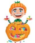 Kid with Halloween Costume Cartoon Vector Character AKA Keat Trick-or-treat - With Huge Pumpkin full of Treats