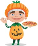 Kid with Halloween Costume Cartoon Vector Character AKA Keat Trick-or-treat - With Pizza