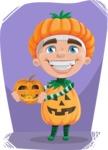 Kid with Halloween Costume Cartoon Vector Character AKA Keat Trick-or-treat - With Pumpkin Halloween Illustration