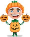 Kid with Halloween Costume Cartoon Vector Character AKA Keat Trick-or-treat - With Pumpkin
