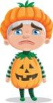 Kid with Halloween Costume Cartoon Vector Character AKA Keat Trick-or-treat - With Sad Face