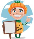 Kid with Halloween Costume Cartoon Vector Character AKA Keat Trick-or-treat - With Sign Illustration Template