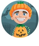 Kid with Halloween Costume Cartoon Vector Character AKA Keat Trick-or-treat - With Simple Style Halloween Background