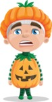 Kid with Halloween Costume Cartoon Vector Character AKA Keat Trick-or-treat - With Stunned Face