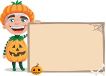 Kid with Halloween Costume Cartoon Vector Character AKA Keat Trick-or-treat - With Whiteboard on Halloween Theme