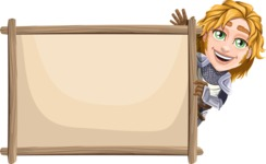 Blonde Prince with Armor Cartoon Vector Character AKA Edgar Medieval - Presentation 6