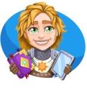 Blonde Prince with Armor Cartoon Vector Character AKA Edgar Medieval - Shape 1