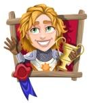 Blonde Prince with Armor Cartoon Vector Character AKA Edgar Medieval - Shape 4