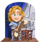 Blonde Prince with Armor Cartoon Vector Character AKA Edgar Medieval - Shape 9
