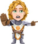 Blonde Prince with Armor Cartoon Vector Character AKA Edgar Medieval - Direct Attention