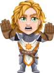 Blonde Prince with Armor Cartoon Vector Character AKA Edgar Medieval - Stop