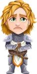 Blonde Prince with Armor Cartoon Vector Character AKA Edgar Medieval - Sad