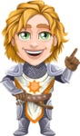 Blonde Prince with Armor Cartoon Vector Character AKA Edgar Medieval - Attention