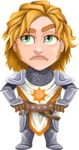 Blonde Prince with Armor Cartoon Vector Character AKA Edgar Medieval - Roll Eyes
