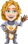 Blonde Prince with Armor Cartoon Vector Character AKA Edgar Medieval - Hello