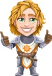 Blonde Prince with Armor Cartoon Vector Character AKA Edgar Medieval - Thumbs Up