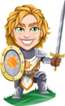 Blonde Prince with Armor Cartoon Vector Character AKA Edgar Medieval - Shield and sword