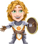 Blonde Prince with Armor Cartoon Vector Character AKA Edgar Medieval - Shield