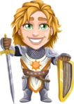 Blonde Prince with Armor Cartoon Vector Character AKA Edgar Medieval - Shield and sword 2